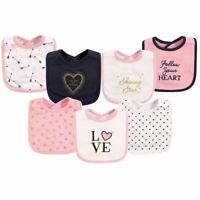 Hudson Baby Girl Drooler Bib, 7-Pack, Love
