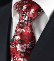 Burgundy NEW Red Rose Tie Designer Silver Floral Paisley Silk Gift 533