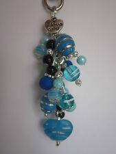Keyring / Bag Charm - Black & Blue Valentine Heart & Bead Cluster - I Love You