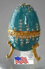 """Jeweld Trinket Box Footed Easter Egg Russian Style Teal 3 3/8""""(8cm) Lion claw"""