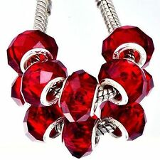 5Pcs sterling silver Charm Red Crystal Glass Large Charm Bead March Bracelet