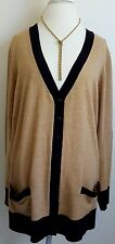 Sejour Cardigan Sweater Plus Sz 3X Womens Khaki Beige Black Tan 100% Merino Wool