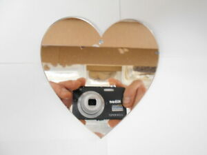 Silver Heart Shaped Acrylic Mirrors 10cm, 3mm thick with hole.x10