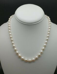 GENUINE PEARL NECKLACE GRADUATED AAA OVAL PEARLS 18 INCHES SOLID STERLING SILVER