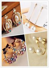 Korean Style Crystal Rhinestone Pearl ear stud dangle Earring Christmas Gift