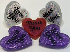Heart Shaped Resin Fridge Magnet. Love You - Miss You - Thank You. Lovely Gift