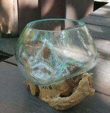 Small bowl molten glass on wood - handmade
