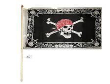 5' Wood Flag Pole Kit Wall Mount Bracket 3x5 Pirate Skull Red Hat W/ Border Flag