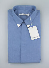 533ef817 New GIVENCHY Blue Cotton Button Down Casual Shirt Size 17 US 43 EU $690
