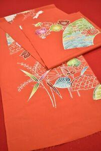 "Vintage Japanese Kimono Fabric Silk Antique Boro Kusakizome Dyed 64.2""/BT54/100"