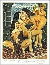 Kirnitskiy Sergey 2005 Exlibris C4 Erotic Eritik Nude Nudo Woman Nun Music 117