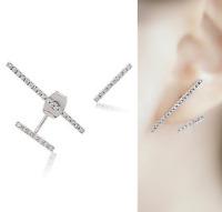 925 Sterling Silver Pin Asymmetrical Line CZ Drop Double Sided Stud Earrings