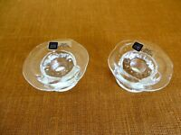 2 VTG Glass Candle Holders Candlestick FINN CRYSTAL Arabia Finland LUMME lily