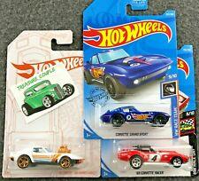 Hot Wheels - Lot of 3 - CORVETTE - Gas Monkey Pearl - Grand Sport - Racer - C112