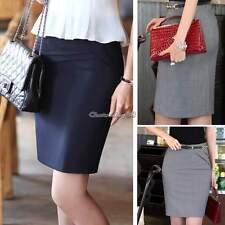 Ladies Plain Office Womens Stretch Bodycon Short Pencil Skirt Plus Size 2-16 Dark Gray S