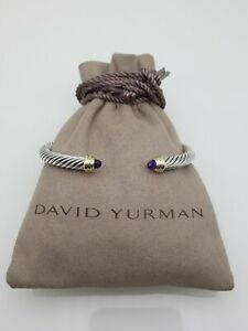David Yurman 5mm Cable Classic Bracelet with Amethyst and Diamonds Size Small