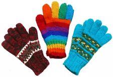 Handschuhe Schafwolle Gr. S / M türkis rot Regenbogen 100% Wolle Fleece Futter