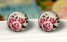 Cabochon Ohrstecker Rosen 🌹 18mm Durchmesser aus Glas Stecker versilbert