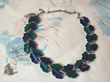 Vintage Blue Lucite Oak Leaves Choker Necklace Lisner Thermoset Moonglow