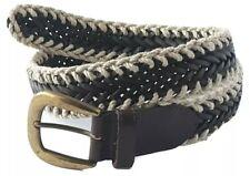 "Vintage Ruff Hewn True American Wear Hemp Leather Braided Belt 34"" Brown Unisex"