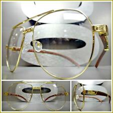 Men's CLASSY Vintage Retro Style Clear Lens EYE GLASSES Gold & Wood Wooden Frame