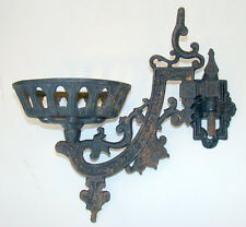 Antique 1800's VICTORIAN Cast Iron WALL MOUNT Bracket KEROSENE OIL LAMP HOLDER