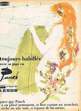 PUBLICITE ADVERTISING 124  1957  LESUR   jupe en laine PUNCH