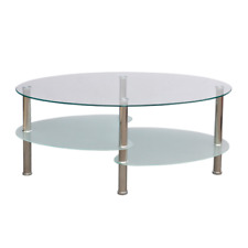 Glass Coffee Table 3-layer Design Shelves Storage Tables Metal Frame Tea White