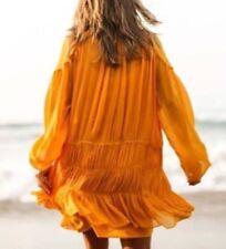 ZARA Mustard Long Sleeve Gathered Skirt and Pearl Sleeve Detail Dress Size M