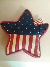 Stars and Stripes Star Shape Throw Pillow 14x14 USA