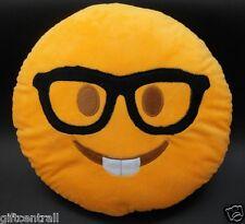 "USA SELLER Emoji Pillow 12"" Inch  Yellow Smiley 30cm Emoticon (Nerd Boy) Smile"