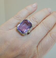 VINTAGE PURPLE STONE RING IN WHITE GOLD SZ 7