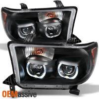 *GAZE* Fits 07-13 Tundra SMD Halo Projector Black Headlights Headlamps 2007-2013