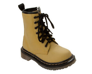 GIRLS YELLOW LACE UP STYLE CASUAL ZIPPER ANKLE FASHION BOOTS UK SIZE 10-2