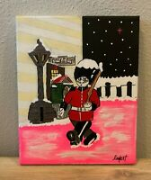 English Guard The Beatles Christmas Snow Hand Painted Original Painting 8x10""