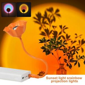 Rainbow Sunset Projector Projection USB Atmosphere LED Desk Night Light Lamp🔥