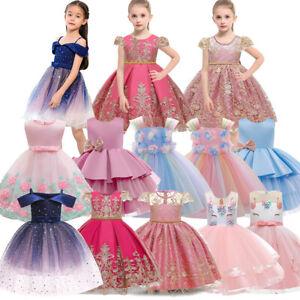 Flower Girls Princess Dress Baby Kids Wedding Bridesmaid Party Lace Prom Dresses