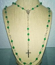 Green & White Rosary