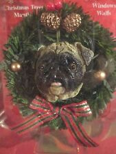 PUG CREAM  CHRISTMAS WREATH ORNAMENT