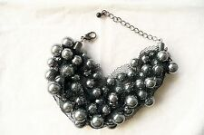 CHUNKY BRACELET – A BEAUTIFUL DESIGN WITH LOVELY GREY PEARLS - BRAND NEW