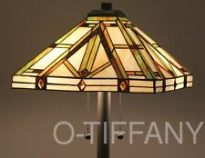 "Tiffany Style Stained Glass Floor Lamp ""Golden Mission"""