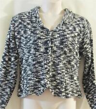 955 ORIGINALS Black Gray & Cream Marled Knit Short Cardigan/ Pullover Sweater -L