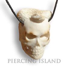 Halskette Skull Totenkopf Schlange Okkult Amulett Horn PB116