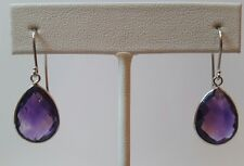 14 k White Gold Earrings with Amethyst 12×16 Pear Shape