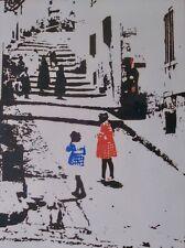 European Street Scene Art Woodblock Print MCM Pencil Signed Betsy Evans 01646