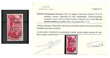1943 FEZZAN PA DI LIBIA SOPR. 2 SBARRETTE SASSONE 2C 1 VALORE MNH SORANI