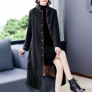 Women Chinese Style Cotton Linen Button Padded Overcoat Winter Warm Long Outwear