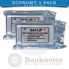 100 Coin Plastic Holders Sleeves Flips Saflip 2x2 Mylar 2 Packs Free USA Post