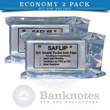 100 Coin Plastic Holders Sleeves Flips Saflip 2x2 Mylar 2 Packs Free USA Post