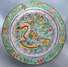 Chinese Canton enamel DRAGON/SERPENT Pin Dish